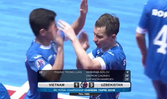 Kết quả lượt trận tứ kết futsal châu Á 2018: Việt Nam thua đậm Uzbekistan