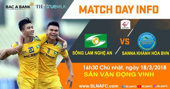 Lịch thi đấu SLNA vs Sanna Khánh Hòa, vòng 2 V League 2018