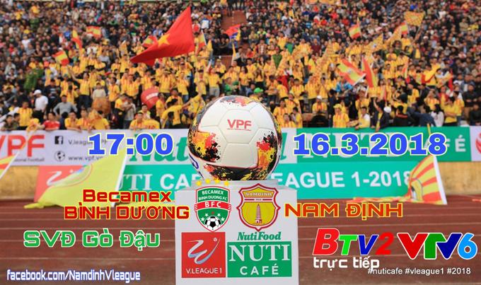 Lịch thi đấu, trực tiếp V League 2018 hôm nay 16/3: B.Bình Dương vs Nam Định