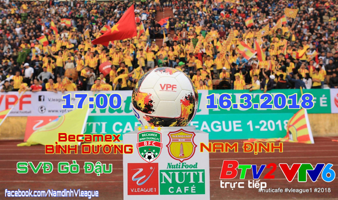 TRỰC TIẾP B.Bình Dương vs Nam Định, 17h00 ngày 16/3, vòng 2 V League 2018