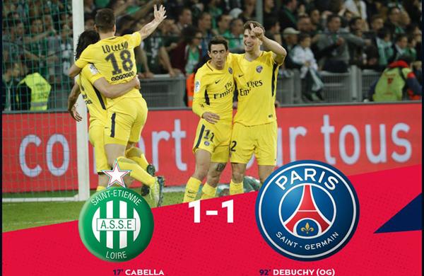 Kết quả bóng đá hôm nay 07/04: Saint Etienne 1-1 PSG
