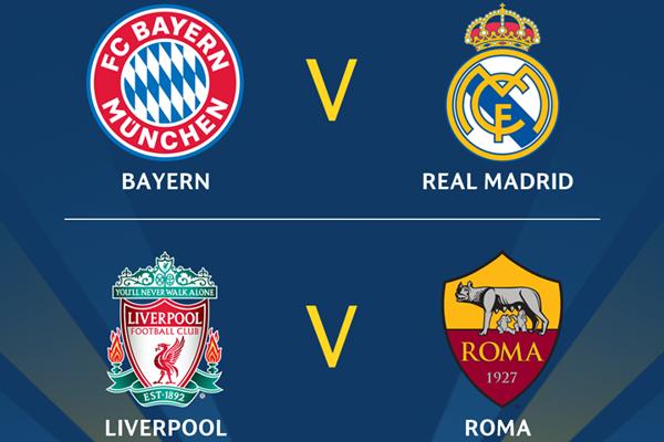 Kết quả bốc thăm bán kết Cúp C1 châu Âu Champions League 2017/18: Bayern Munich vs Real Madrid
