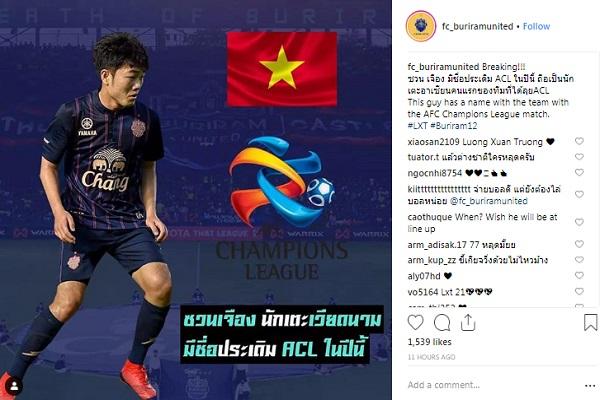 Xuân Trường nằm trong đội hình Buriram United đá AFC Champions League