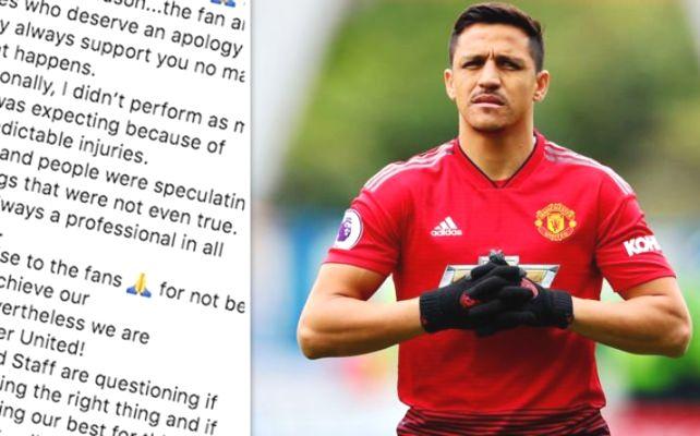 Alexis Sanchez gửi tâm thư xin lỗi cổ động viên MU sau mùa giải 2018/19