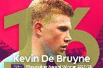 Kevin De Bruyne giành danh hiệu 'Vua kiến tạo' Ngoại hạng Anh mùa 2017/18