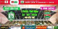 TRỰC TIẾP XSKT Cần Thơ vs B.Bình Dương, 17h00 ngày 22/3, vòng 3 V-League 2018