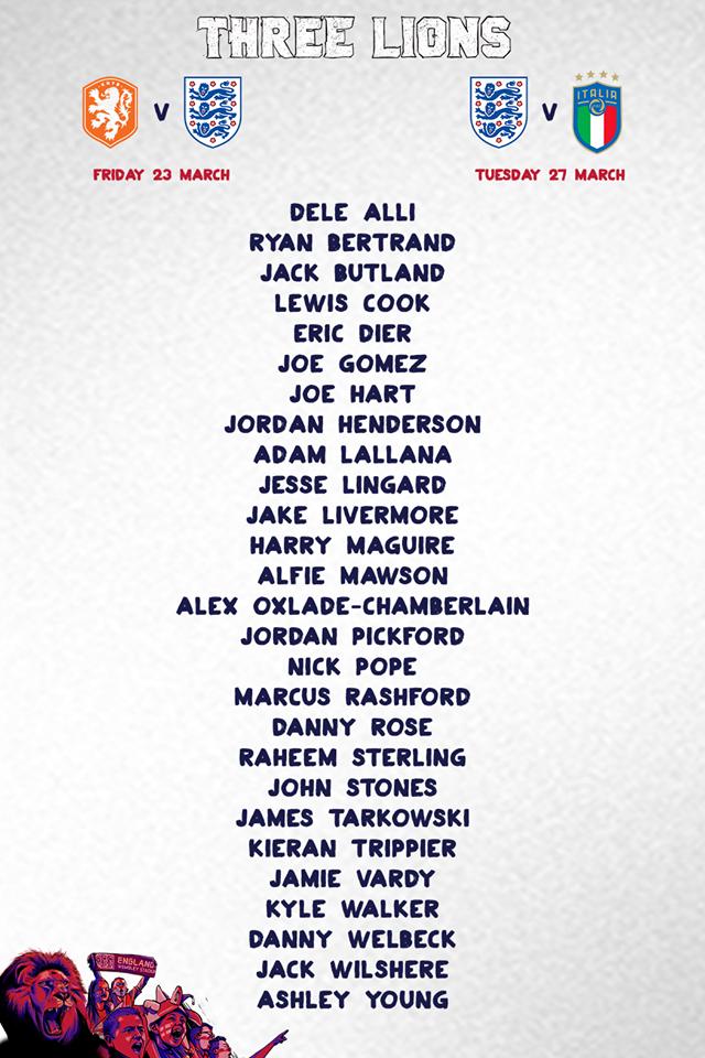 Danh sách tuyển thủ Anh đá giao hữu quốc tế vs Hà Lan ngày 23/3