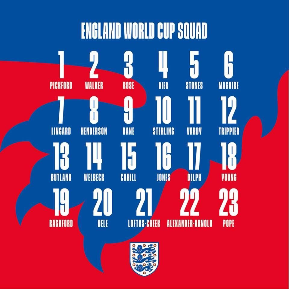 Tin bóng đá sáng nay 5/6: Đội tuyển Anh công bố số áo chính thức World Cup 2018