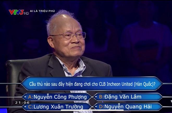 Ai là triệu phú xuất hiện câu hỏi về Công Phượng và Incheon United