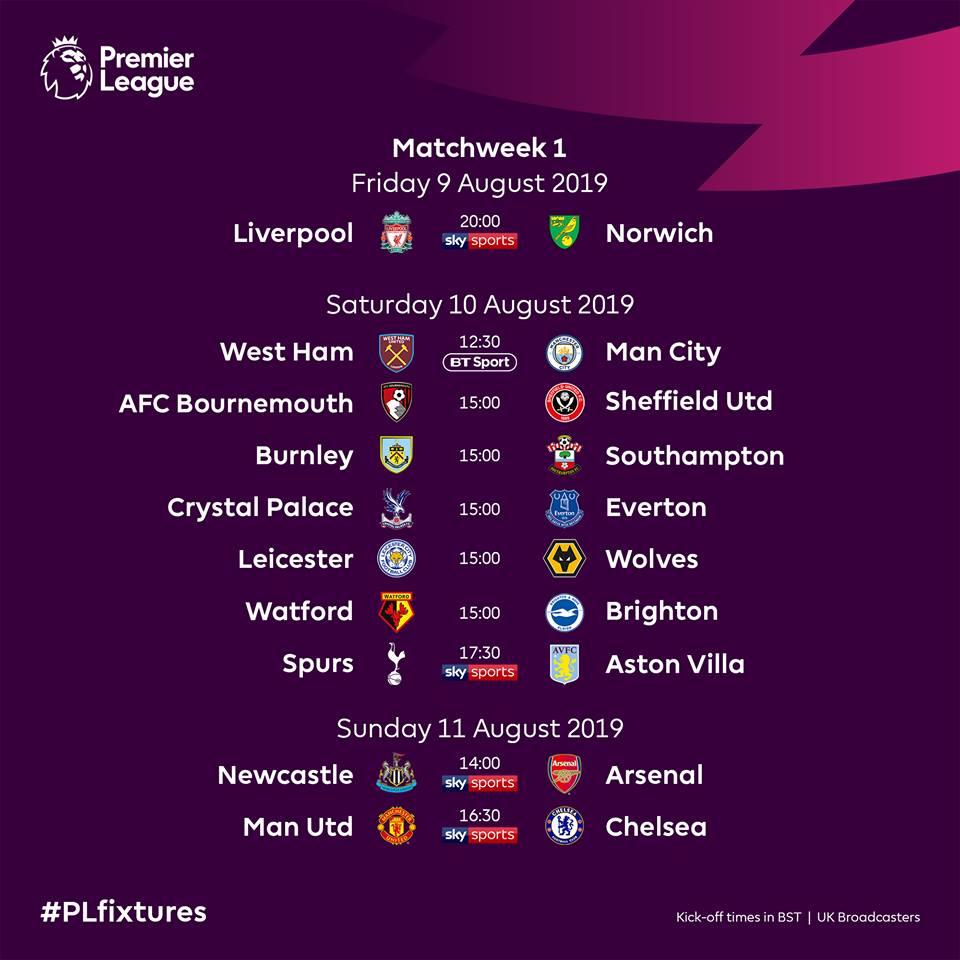 Lịch thi đấu vòng 1 Ngoại hạng Anh 2019/20: Đại chiến MU vs Chelsea