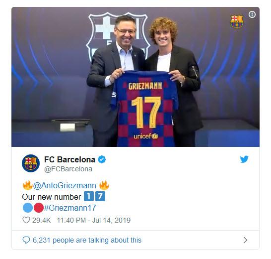 Griezmann nhận số áo dự bị tại Barcelona