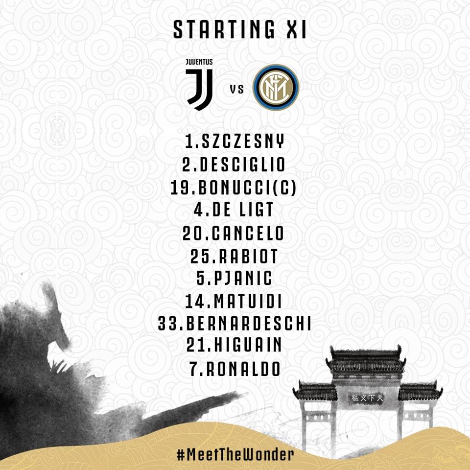 Juventus vs Inter Milan: Đội hình ra sân ở ICC 2019 – Ronaldo, De Ligt đá chinh