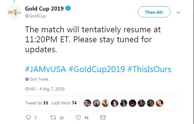 Trận Mỹ vs Jamaica hoãn ít nhất 1 tiếng vì lý do hiếm thấy