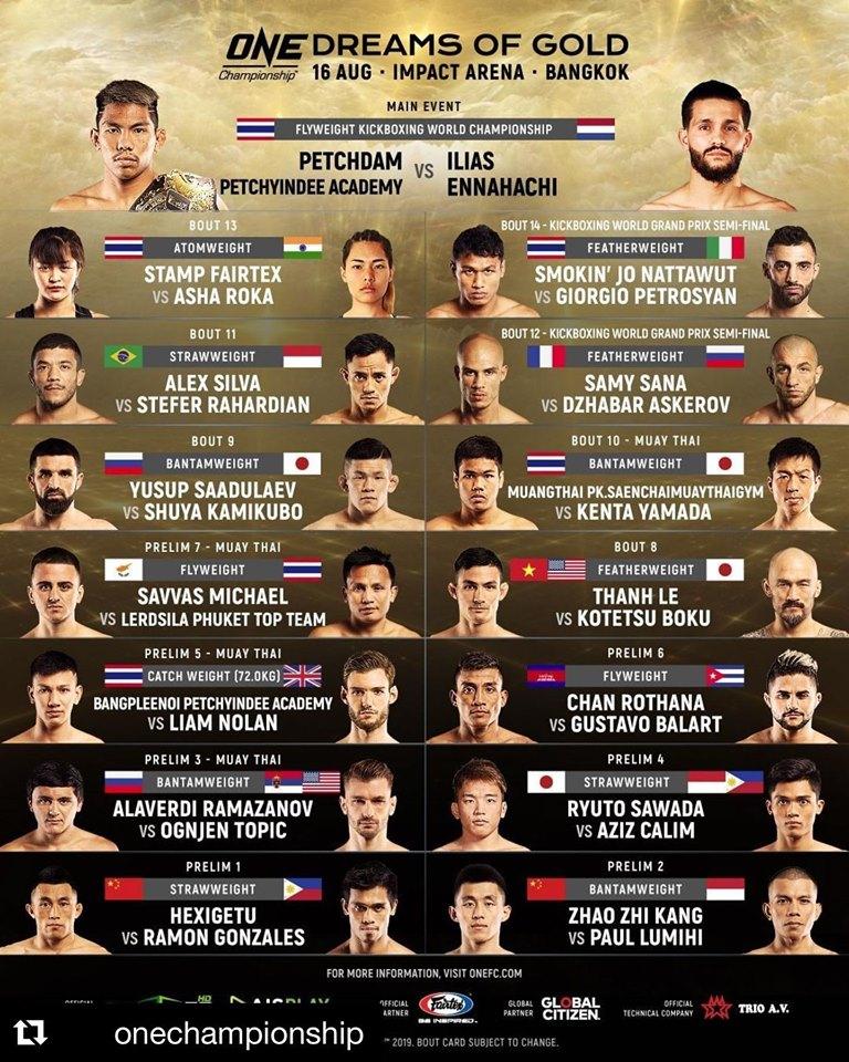 Lịch thi đấu ONE Championship 2019 hôm nay 16/8: Thanh Lê vs Kotetsu Boku