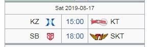 Lịch thi đấu LCK Mùa Hè 2019 hôm nay 17/8: SKT vs SB
