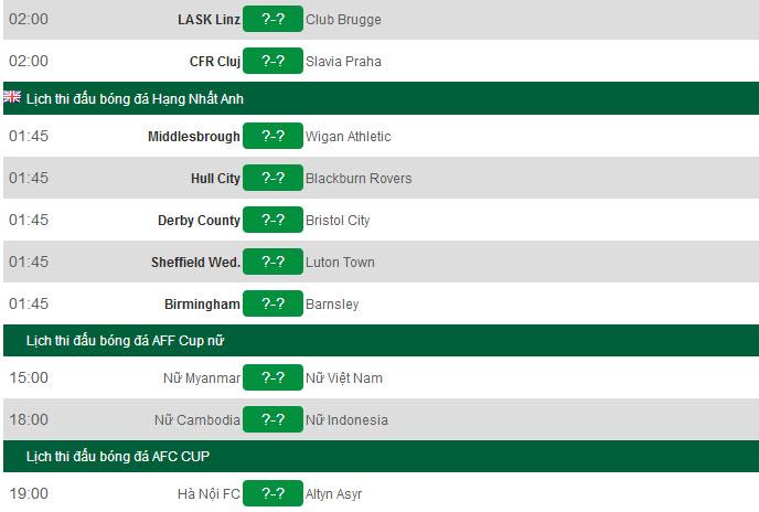 Lịch thi đấu bóng đá hôm nay 20/8: Tâm điểm Hà Nội FC vs Altyn Asyr