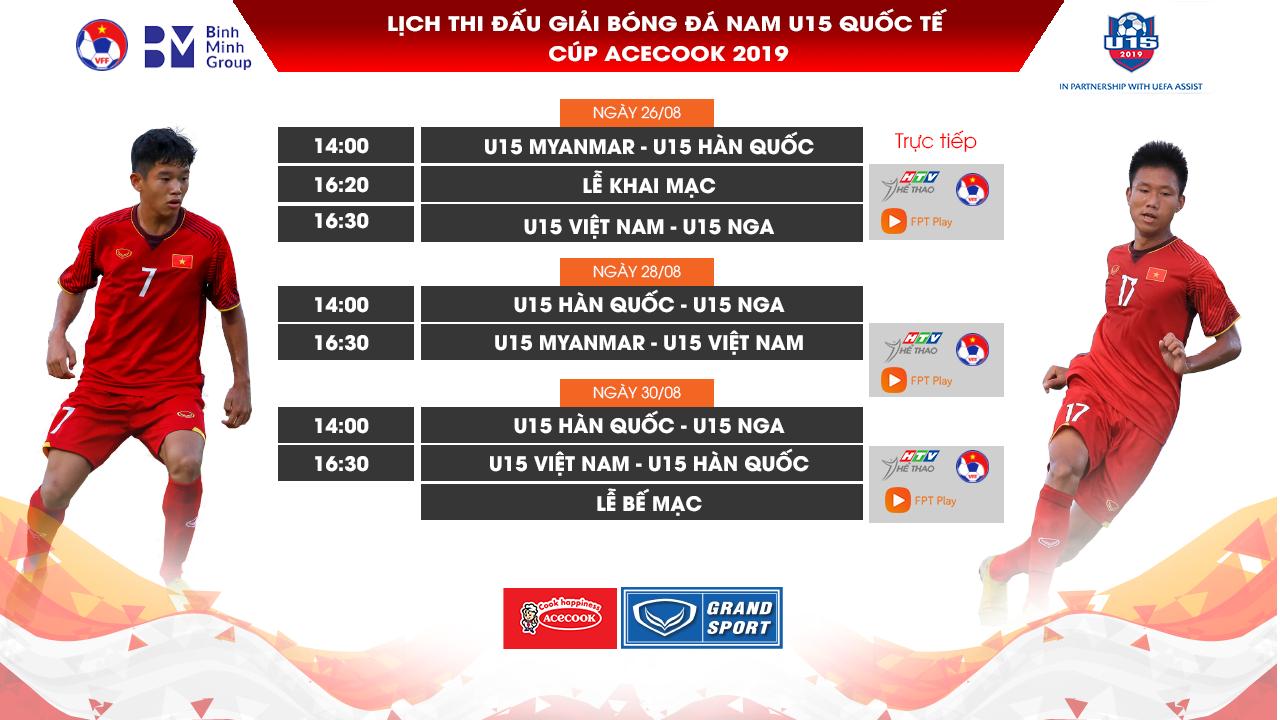 LTĐ, BXH giải U15 Quốc tế 2019: U15 Việt Nam đụng U15 Nga, U15 Hàn Quốc
